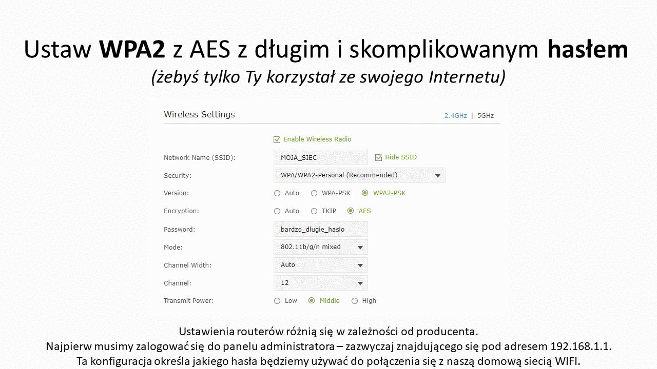Ustaw WPA2 z AES