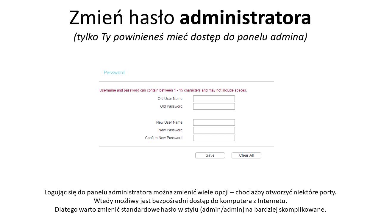 Zmień hasło administratora routera