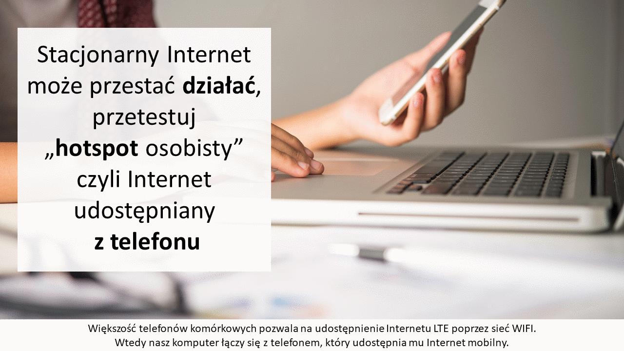 Większość telefonów pozwala na udostępnienie Internetu poprzez hotspot osobisty